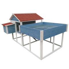 The Roof Top Garden Large Chicken Coop- Blue & White Hen House