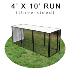 4' X 10' Chicken Run with Metal Top (THREE-SIDED)
