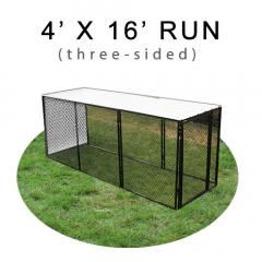 4' X 16' Chicken Run with Metal Top (THREE-SIDED)
