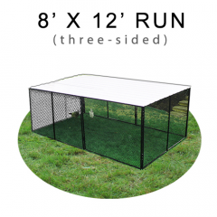 8' X 12' Chicken Run with Metal Top (THREE-SIDED)