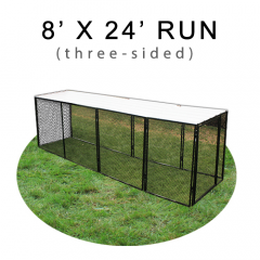 8' X 24' Chicken Run with Metal Top (THREE-SIDED)
