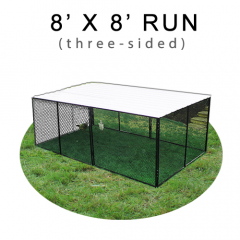 8' X 8' Chicken Run with Metal Top (THREE-SIDED)